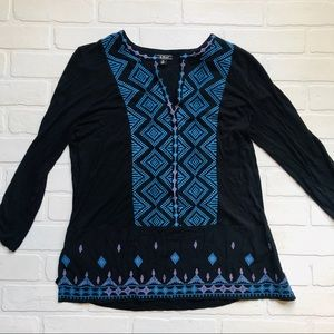 Lucky Brand Black Embroidered Top